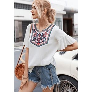 Embroidered White Short Sleeve Top